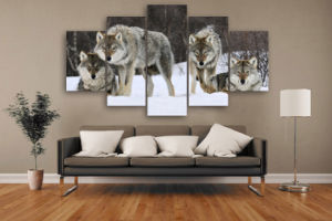 HD Printed Wolf Pack Snow Animal Painting on Canvas Room Decoration Print Poster Picture Canvas Mc-018 pictures & photos
