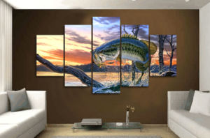HD Printed Jumping Fish Landscape Art Painting Canvas Print Room Decor Print Poster Picture Canvas Mc-015 pictures & photos