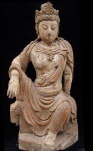 Old Wood Kwan Yin Statue