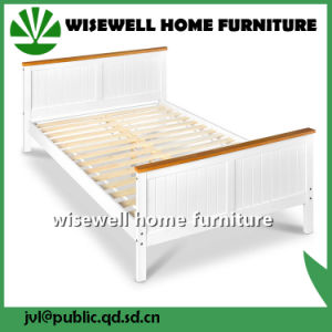 Solid Pine Wood Bi-Color Wall Double Bed in Full Size (WJZ-B112) pictures & photos