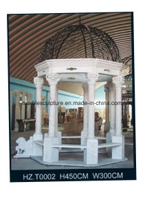 White Carrara Qu Yang Stone Sculpture   Marble Gazebo (SY-G007) pictures & photos