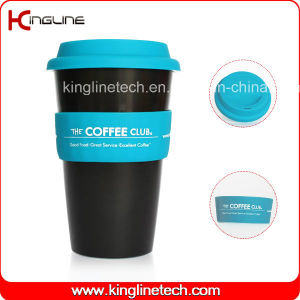 Daily Used 500ml Coffee Cup with Sillicone Band and Cover OEM (KL-CP004) pictures & photos