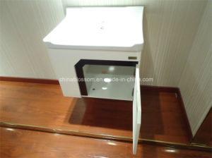 White Lacquer Finish Home Hotel Furniture Vanity PVC Bathroom Cabinet (BLS-17281A) pictures & photos