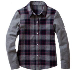 Factory Cheap High Quality Long Sleeves Autumn Middle School Uniform Plaid Grid Shirt pictures & photos