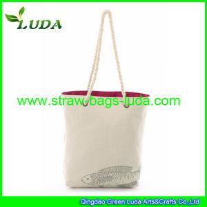 Luda Stylish Canvas Straw Bag
