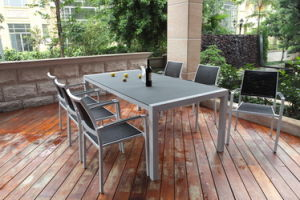 Spray Stone Powder Glass Table With Aluminum Frame (TA200X100-02SSG)