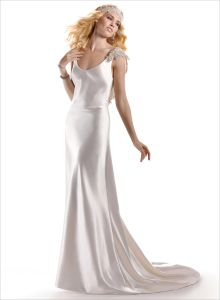 2014 Ivory V-Neck Backless Column Satin Prom Evening Dress (SCL-WD030)
