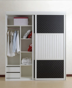 White and Black Theme Wooden Closet