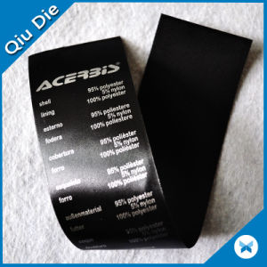 Black Background Silver Font Printing Washing Label/Care Label/Main Instruction Label pictures & photos