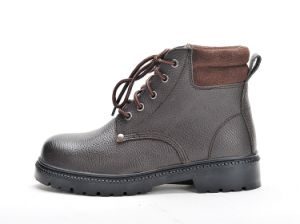 Safety Shoes with Steel Toe and Steel Plate Rubber Outsole Lining Leather Brown