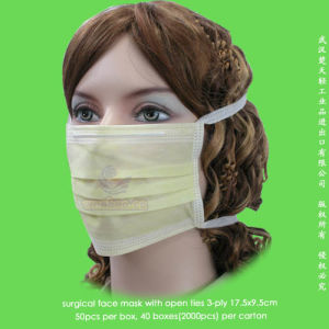 Disposable 1-Ply 2-Ply 3-Ply Protective Face Mask with Head Fixation Ties pictures & photos