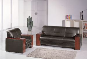 Black Leather Hotel Lobby Sofa (FOH-6660) pictures & photos