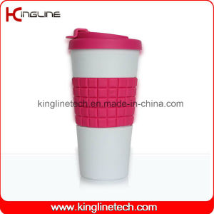 500ml Silicone Coffee Cup with Sillicone Band and Cover OEM (KL-CP006) pictures & photos