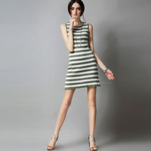 Latest Design Sleeveless Round Collar Stripe Women Dress pictures & photos