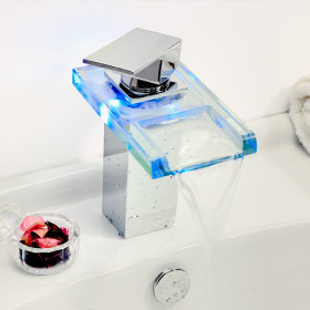 LED Light Glass Waterfall Single Handle Basin Batheoom Faucet (LH 8059) pictures & photos