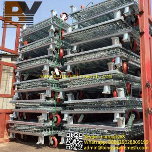 Folding Steel Wire Mesh Cage Folded Storage Container pictures & photos