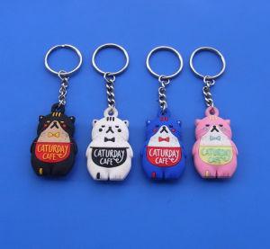 Popular Cafe Cat Design 3D Soft PVC Promotional Keyring pictures & photos