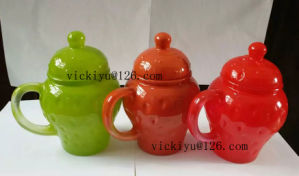 300ml Red Wave Point Glass Jar for Milk with Lid pictures & photos