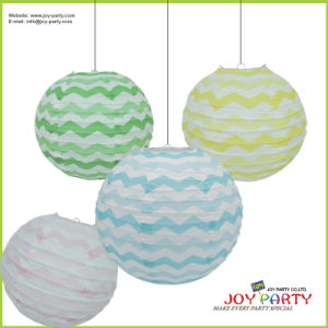 Zag Zag Printing Round Paper Lanterns for Girl′s Birthday Party
