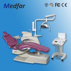 Hot Selling High Quality CE Approved Real Leather Dental Chair with LED Sensor Light Mfd208q1 pictures & photos