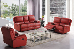 Leather Sofa with 1+2+3 for Furniture Home Used Manual Recliner pictures & photos