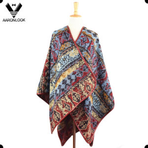 2017 Fall Winter New Pattern Jacquard PU Edge Cover Ponchos for Women pictures & photos