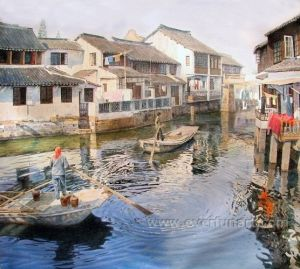 Handmade Canvas Oil Painting of Village Life Wall Art Home Decor (ESL-116) pictures & photos