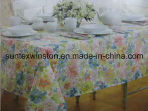 100%Polyester Solid Jacquard Tablecloth with PVC Placemats pictures & photos