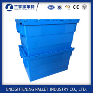 Cheap Plastic Moving Attched Lid Tote Boxes with Lid pictures & photos