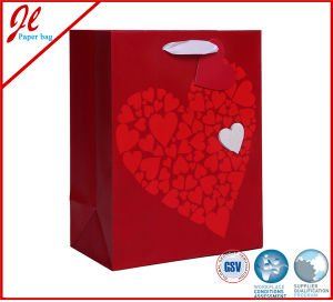 Glitter Valentines Day Gift Bags with Hanging Tag and Organza Handle pictures & photos