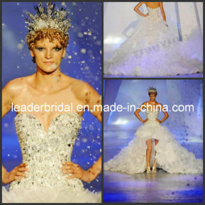 Jeweled Crystal Stones Hi-Low Bridal Dress Wedding Gowns E13902 pictures & photos