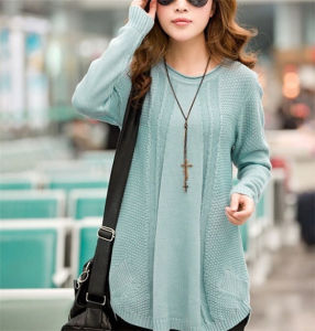 New Casual Women′s Round Neck Pullover Loose Sweater (50202) pictures & photos