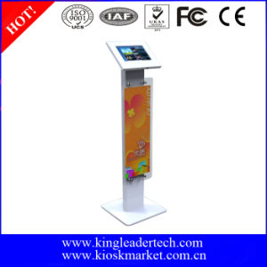 Antitheft Metal Tablet Enclosure Kiosk Stand with Advertisement Board for Samsung 10.1tab2, Tab3, Tab4