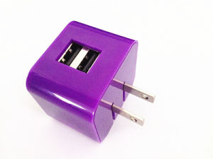 Dual USB Folding Plug Mobile Phone USB Travel Cell Phone Charger 5V 2.1A with Customized Colors pictures & photos