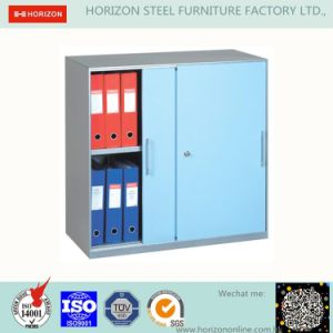 Steel Low Storage Cabinet with Double Swinging Steel Framed Glass Doors pictures & photos