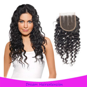 Curly Free Part Virgin Human Hair Lace Closure 4*4inch pictures & photos
