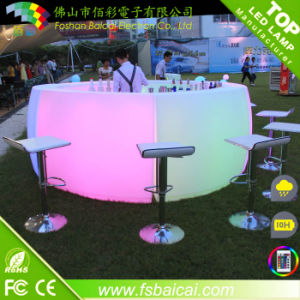 Full Rounded Glowing Table with a Shelf (BCR-864T) pictures & photos