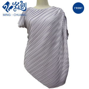 Newstyle Gray Diagonal-Stripe Fashion Summer Women Blouse pictures & photos