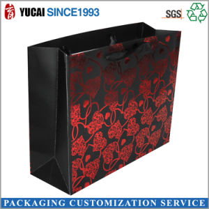 Black Paper Shopping Bags with Red Love pictures & photos