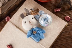 Ivenran Preserved Fresh Flower Blue Rabbit Keychain for Gift and Decoration pictures & photos