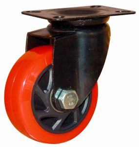 "4""/5"" Inch Red PU Swivel Caster for Hand Truck with E-Coating Bracket pictures & photos"