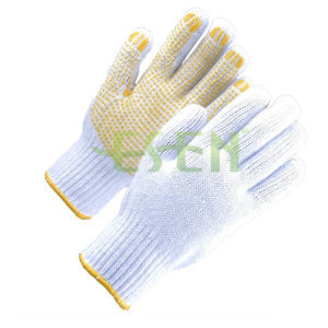 Knitted Glove 7g, 10g, 13G, 15g Cotton Gloves with PVC Dots pictures & photos