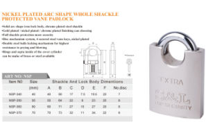 Nickel Chrome Plated Arc Type Full Shackle Protected Vane Padlock pictures & photos