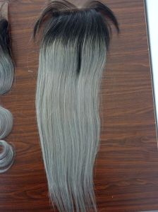 8A Best Virgin Malaysian Hair Closure Ombre Grey Straight Lace Closure Bleached Knots Closures Free/2/3part Virgin Human Hair Closure with Baby Hair pictures & photos