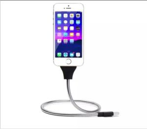Flexible Stand up Metal USB Data Sync Charge Cable for Apple and Android pictures & photos
