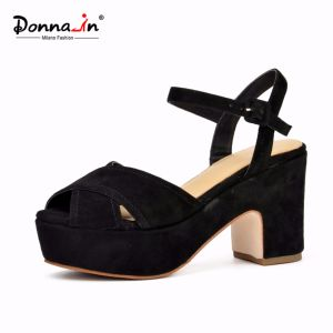 Fashion Lady Suede Leather High Heels Women Causal Platform Sandals pictures & photos