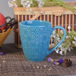 287ml Blue Glazed Ceramic Drinking Mug with Flower Design pictures & photos