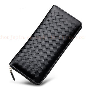 OEM Colorful Sheep Leather Plaited Purse Wallet with Zipper pictures & photos