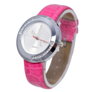Japan Biquartz Movement Rose Red Leather Wristband Alloy Case Watch pictures & photos