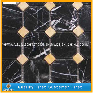 Cheap Chinese Nero Marquina Black Marble Mosaic Tiles for Wall/Floor pictures & photos